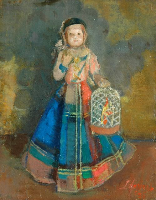 Lizzy Ansingh | Little girl with a birdcage, oil on panel, 17.9 x 14.0 cm, signed l.r. and dated '36
