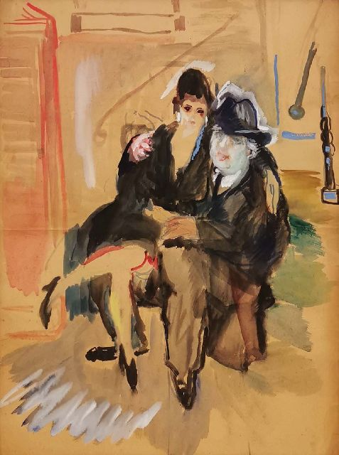 George Martens | A couple on a chair, gouache on paper, 85.6 x 64.6 cm
