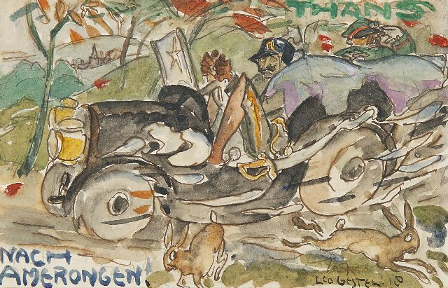 Leo Gestel | Nach Amerongen: Emperor Wilhelm II on his return, watercolour on paper, 9.0 x 14.0 cm, signed l.r. and painted '18