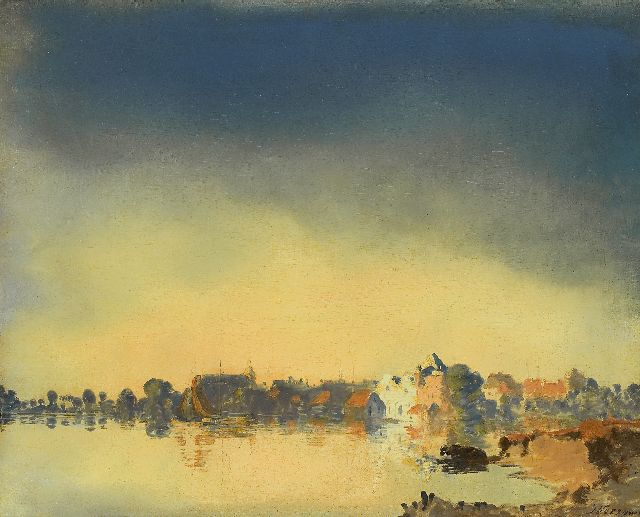 Jan Voerman sr. | Hattem on the river IJssel, oil on panel, 41.4 x 51.6 cm, signed l.r.