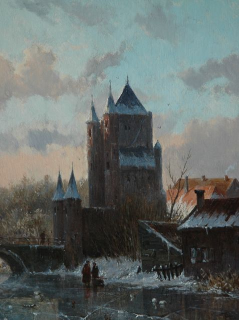 Adrianus Eversen | The Amsterdamse Poort in Haarlem in winter, oil on panel, 19.1 x 14.8 cm, signed l.r. with monogram