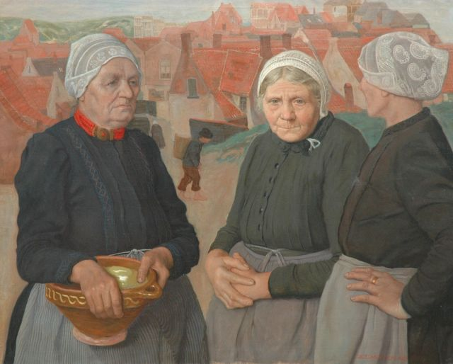 Roeland Koning | Fishermen's wives from Egmond, oil on canvas, 91.0 x 112.4 cm, signed l.r. and painted ca. 1924-1927