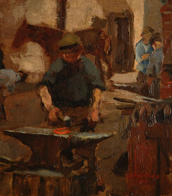 George Hendrik Breitner | The blacksmith, oil on board, 17.0 x 15.1 cm, signed l.r.