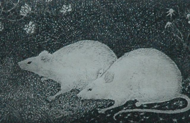 Jan Mankes | Two white mice, copper engraving on paper, 6.9 x 10.0 cm, signed l.r. (in pencil) and dated 1916