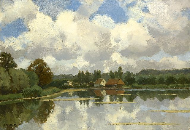 Nicolaas Bastert | On the water (near Loenen), oil on canvas, 55.3 x 80.3 cm, signed l.l.