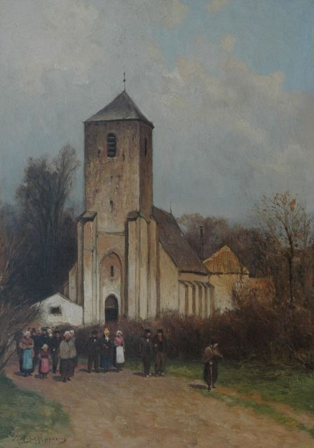 Piet Schipperus | People leaving the Grote Kerk, Lisse, oil on canvas, 40.8 x 29.3 cm, signed l.l.