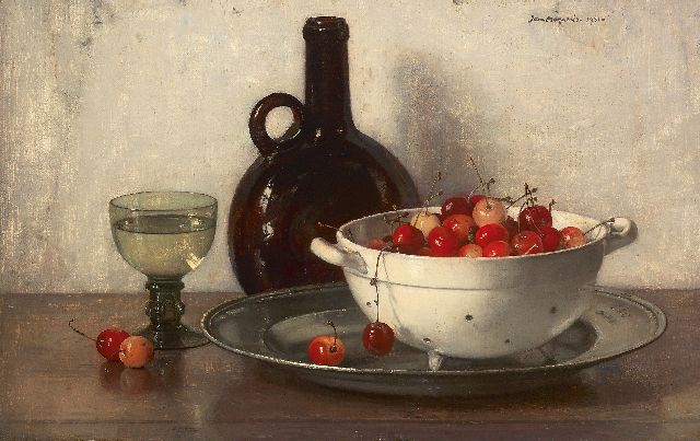 Jan Bogaerts | A still life with cherries, oil on canvas, 32.0 x 50.0 cm, signed u.r. and dated 1931