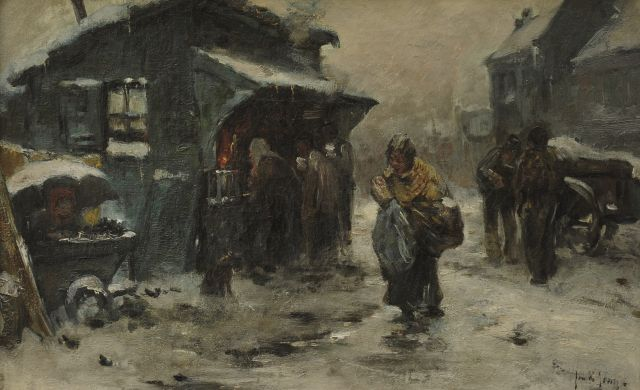 Jan de Jong | Village street in winter, oil on canvas, 31.9 x 50.5 cm, signed l.r.