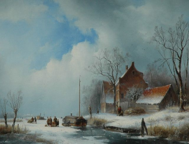 Jan Jacob Spohler | A farm on a frozen river, oil on canvas, 53.8 x 68.8 cm, signed l.l. and dated A: 1839