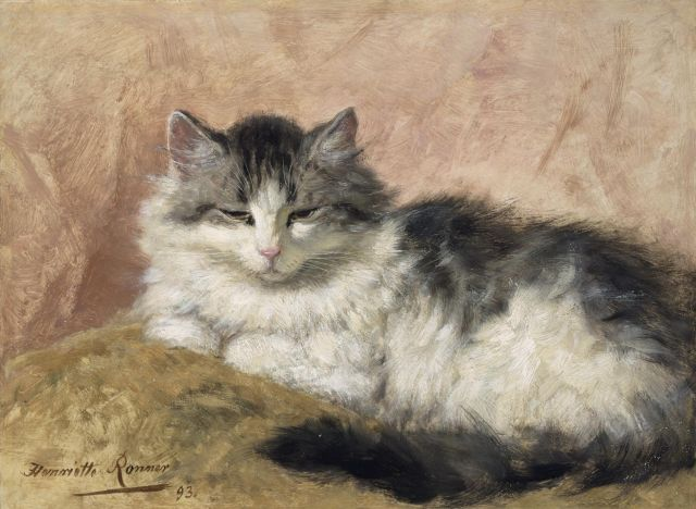 Henriette Ronner-Knip | A cat, oil on panel, 26.9 x 36.0 cm, signed l.l. and dated '93