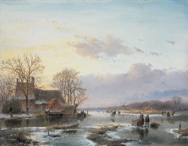 Andreas Schelfhout | Skaters on a frozen polder canal, oil on panel, 37.6 x 48.4 cm, signed l.l. and painted circa 1845