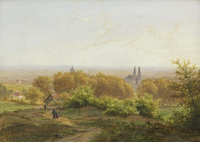 Klombeck J.B.  | A panoramic view on Cleve, Germany, oil on canvas laid down on panel 32.2 x 44.7 cm, signed l.r. with initials and dated 1844