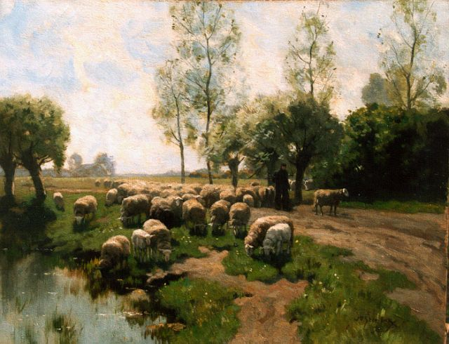 Willem Steelink jr. | A shepherd with his flock, oil on canvas, 51.0 x 66.0 cm, signed l.r.