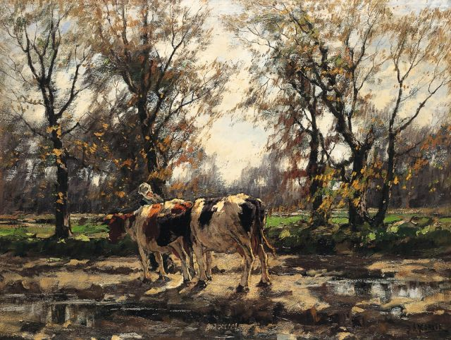 Arnold Marc Gorter | A milkmaid with her cows after an autumn shower, oil on canvas, 75.0 x 100.5 cm, signed l.r.