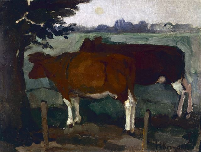 Herman Kruyder | Cows in a landscape, oil on canvas, 29.8 x 39.2 cm, signed l.r.