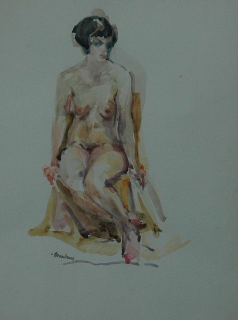 George Martens | A seated nude, watercolour on paper, 29.5 x 21.5 cm, signed with signature stamp l.l.