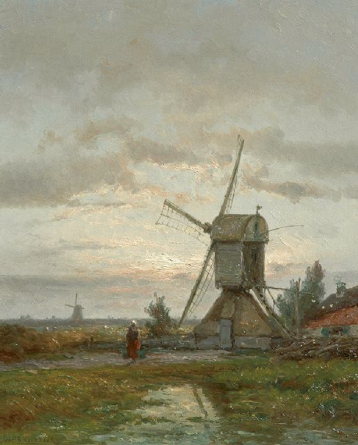 Jan H.B. Koekkoek | Flour mill De Lelie near Kortenhoef, oil on panel, 56.0 x 45.5 cm, signed l.l.
