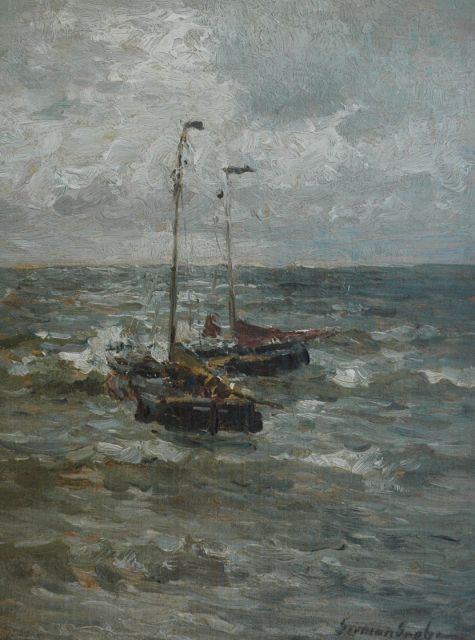 German Grobe | Two barges at sea, oil on canvas laid down on panel, 35.4 x 26.8 cm, signed l.r.