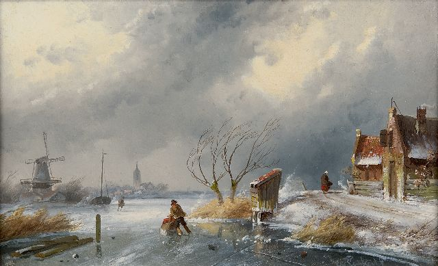 Charles Leickert | Winter landscape with skaters and a sledge, oil on panel, 16.2 x 26.2 cm, signed l.r.