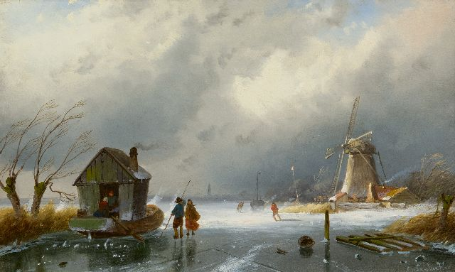 Charles Leickert | Upcoming snowstorm, oil on panel, 16.4 x 26.1 cm, signed l.r.