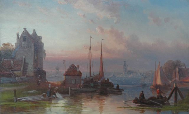 Leickert C.H.J.  | Moored vessels in a harbour town at sunset, oil on panel, 16.3 x 26.3 cm, signed l.r.