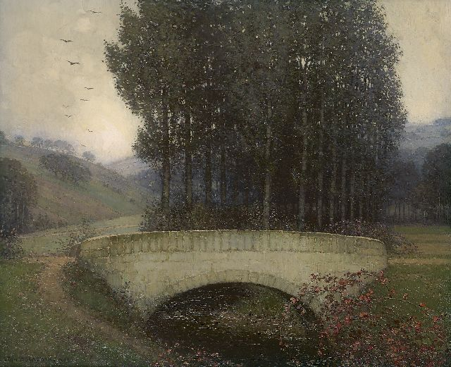 Jan Bogaerts | Bridge in the Geuldal, oil on canvas, 38.1 x 46.0 cm, signed l.l. and dated 1912