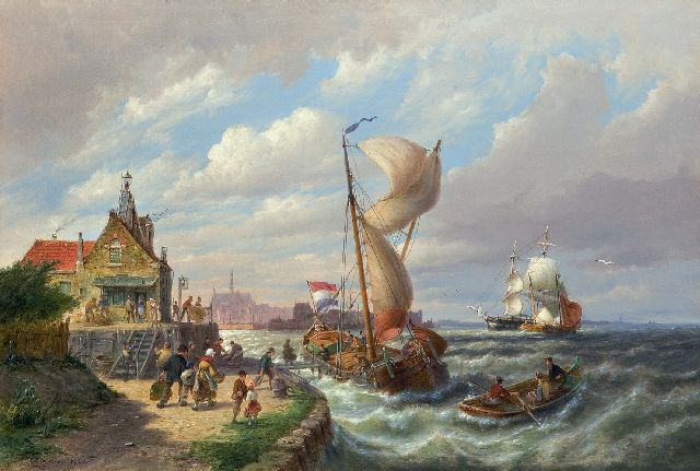 Pieter Cornelis Dommershuijzen | The departure of the ferry, oil on canvas, 50.7 x 76.2 cm, signed l.l. and dated 1912
