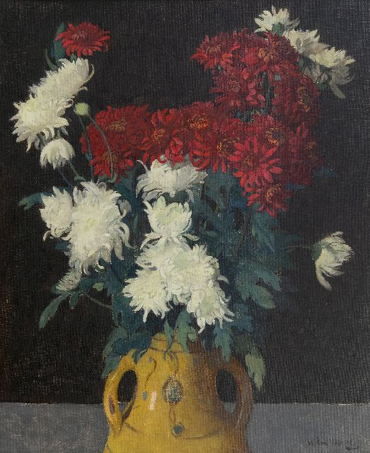 Wilm Wouters | Still life with chrysanthemum, oil on canvas, 65.1 x 53.0 cm, signed l.r.