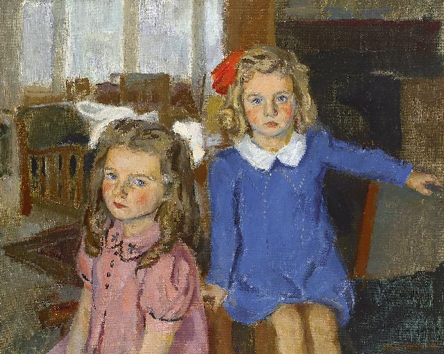 Bob Buijs | Portrait of Hiske and Koosje Hin, oil on canvas, 52.5 x 65.3 cm, signed l.r. and dated '44