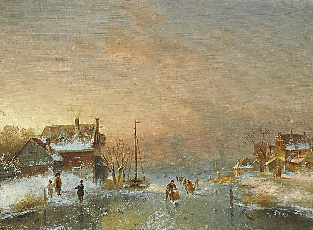 Charles Leickert | Skaters on a frozen river, oil on canvas, 40.7 x 54.3 cm, signed l.r. indistinctly signed