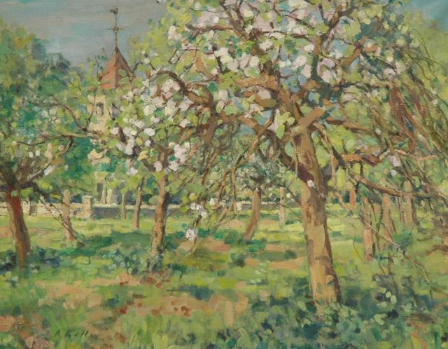 Adolphe Keller | Orchard in bloom, oil on canvas, 73.4 x 92.3 cm, signed l.l. and dated 1954 on the stretcher