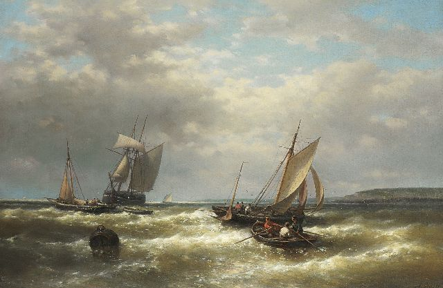 Abraham Hulk | Sailing boats off the coast in a storm, oil on canvas, 61.7 x 93.0 cm, signed l.r.