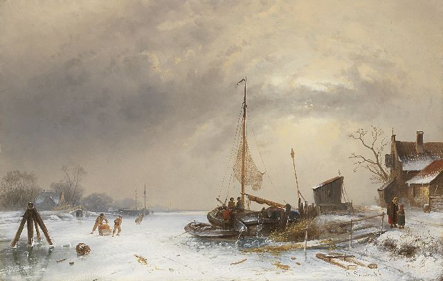 Charles Leickert | Winter landscape with skaters on a frozen river, oil on panel, 35.0 x 54.4 cm, signed l.r.