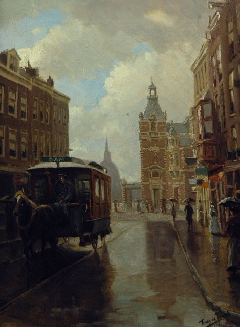 Tinus de Jongh | The Leidsestraat in Amsterdam with the Stadsschouwburg in the distance, oil on canvas, 40.2 x 30.3 cm, signed l.r.