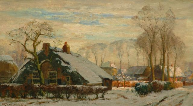David Schulman | Farm in winter landscape, oil on canvas, 40.7 x 70.4 cm, signed l.l.