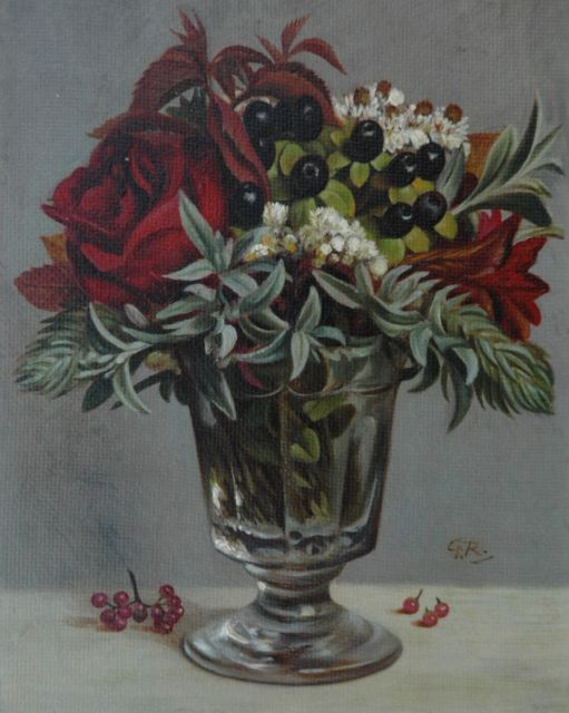 Gé Röling | A flower still life in a glass vase, oil on panel, 19.0 x 15.1 cm, signed l.r. with initials and in full on the reverse
