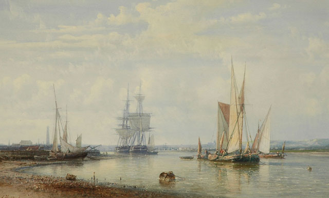 Abraham Hulk | Sailing ships in calm waters, watercolour on paper, 24.7 x 40.7 cm, signed l.l.