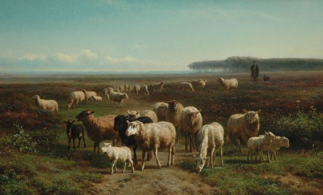 Jan Bedijs Tom | A shepherd with his flock, oil on panel, 28.2 x 45.8 cm, signed l.r. and dated 1866