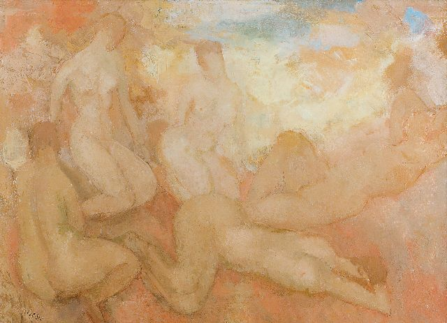 Kelder A.B.  | Female nudes, oil on canvas 47.8 x 64.5 cm, signed l.l.