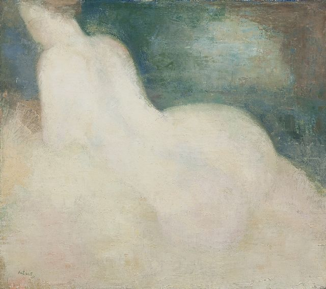 Kelder A.B.  | Female nude, seen from the back, oil on canvas 36.7 x 41.1 cm, signed l.l.