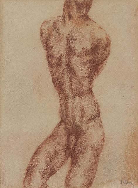 Kelder A.B.  | Torso - muscle study, red chalk on paper 25.0 x 18.7 cm, signed l.r.