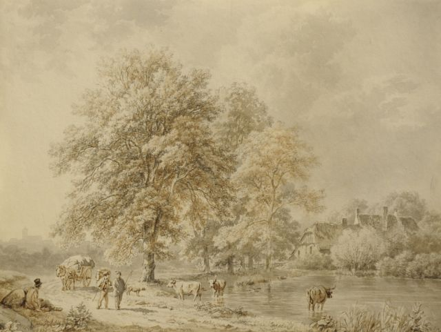 Barend Cornelis Koekkoek | Travellers and cattle on a wooded path along a brook, washed pen on paper, 16.4 x 22.0 cm, signed l.l. and painted 1837