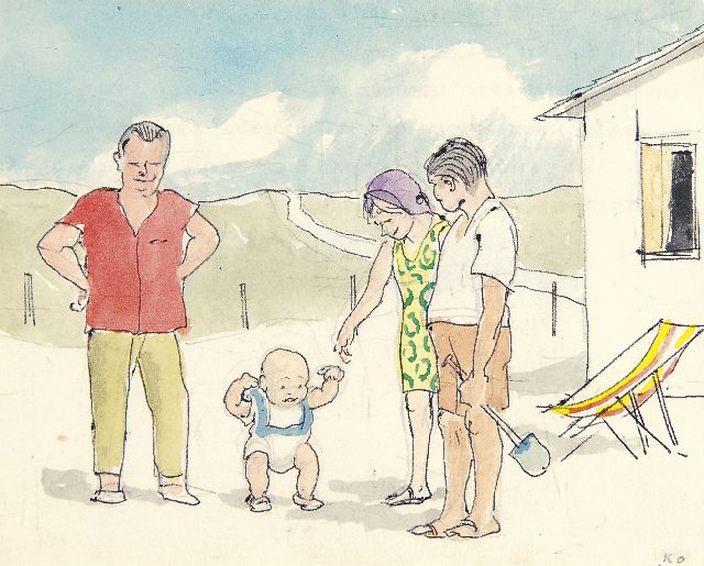 Harm Kamerlingh Onnes | The first steps on the beach, watercolour on paper, 11.5 x 14.3 cm, signed l.r. with initials