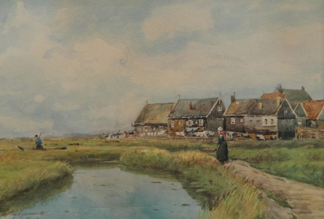 Willem Oppenoorth | On the island Marken, watercolour on paper, 24.8 x 34.9 cm, signed l.l.