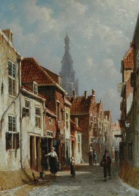 Petrus Gerardus Vertin | Figures on the street in a sunny town, oil on panel, 25.5 x 18.3 cm, gesigneerd r.o.