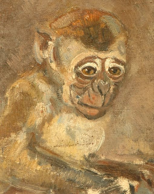 Greta Bruigom | A monkey, oil on canvas laid down on panel, 16.0 x 12.0 cm