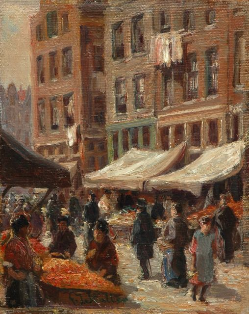 Gerard Johan Staller | Figures at a market, oil on canvas laid down on panel, 16.8 x 13.5 cm, signed l.m.
