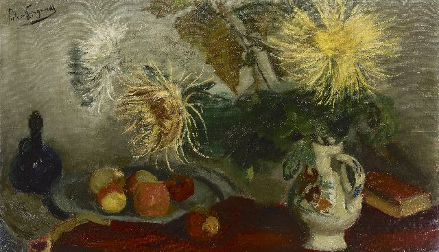 Piet van Wijngaerdt | Still life with chrysanthemum and fruits, oil on canvas, 70.0 x 119.9 cm, signed u.l. and on the reverse
