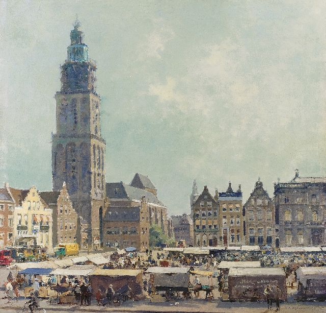 Cornelis Vreedenburgh | The Grote Markt, Groningen, oil on canvas, 51.3 x 53.2 cm, signed l.r. and executed 1936