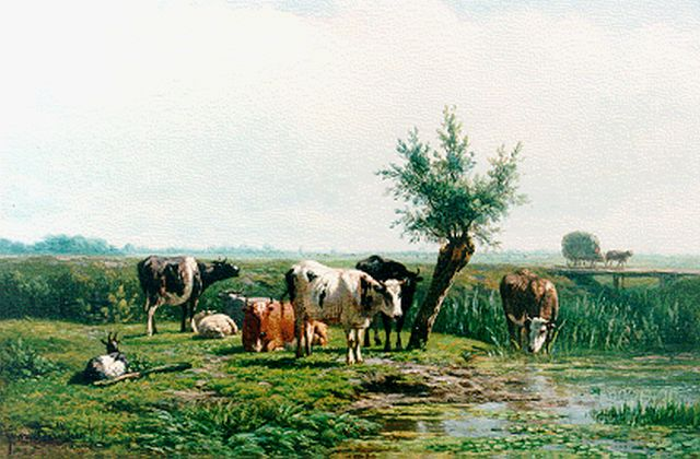 Simon van den Berg | Cattle near a stream, oil on panel, 30.5 x 39.2 cm, signed l.l.